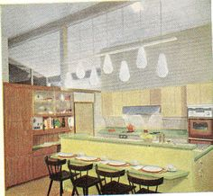 Kitchen 1960. R prefers this, because it's a cross between an island and a table. Anne thinks it's odd how the family eats facing a wall, instead of a TV like civilized folks. (Possibly integrate island with banquette?]