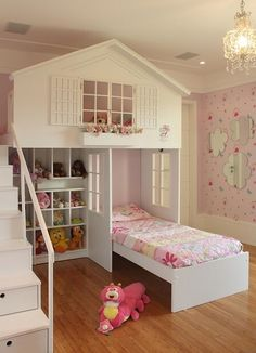 Baby bedroom colors beds ideas for 2019 Bunk Beds Small Room, Bunk Beds With Stairs, Kids Bunk Beds, Small Rooms, Kids Bedroom Designs, Kids Room Design, Bed Designs, Bed For Girls Room, Girl Room
