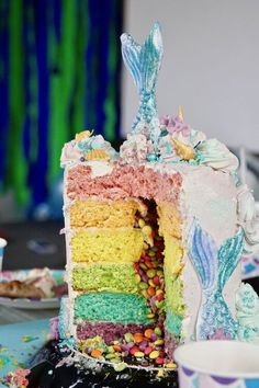 Mermaid rainbow cake with a chocolate surprise in the middle! Mermaid Birthday Cakes, Middle, Rainbow, Chocolate, Desserts, Food, Rain Bow, Tailgate Desserts, Rainbows