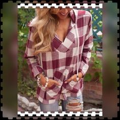 "PLAID Hoodie 💥2X HOST PICK💥...GORGEOUS and CASUAL at the SAME time!!!...STYLISH..Ladies Long Sleeve...GINGHAM Red and White Plaid Drawstring HOODIE!!...Contrasting Front Placket....""Hand Warmer"" Pouch!!....""Nubby"" 55% Cotton/45% Rayon!! 🚫TRADES‼️ PRICE IS FIRM UNLESS BUNDLED‼️ BOUTIQUE Tops Sweatshirts & Hoodies"
