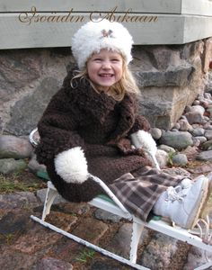 """Crocheted fur coat """"Winter girl"""" by Isoäidin Aikaan http://www.isoaidinaikaan.fi/product_info.php?cPath=71_73&products_id=267"""