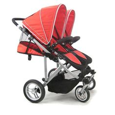 This fits two car seats side by side and still fits through standard doorways!  Seems to be top rated twin stroller system, pricey, but would work for many stages