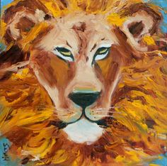 Lion  Original Oil Painting  Canvas Board  Narnia  by honeyscolors (Art & Collectibles, Painting, portrait, lion, wild animal, animal, lion mane, cat, original oil, original painting, artwork, africa safari, orange, yellow, home decor)