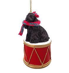 COCKER SPANIEL BLACK Dog DRUM Christmas Ornament w/Gold String & Scarf