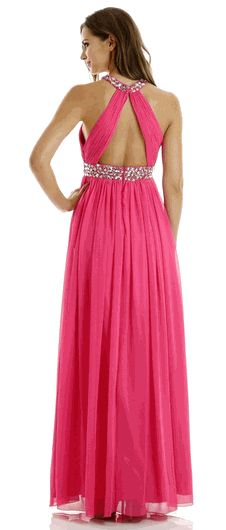 Fuchsia Jeweled Neckline and Waist Full Length Evening Gown (3 colors XS to L) #FuchsiaPromGown #PromDress