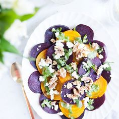 Beet, goat cheese, and walnut salad with honey balsamic dressing is a healthy, elegant, simple side dish.