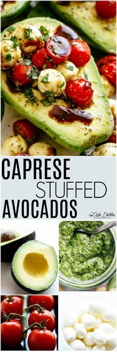 Basil Pesto Caprese Stuffed Avocado drizzled with balsamic glaze makes an incredible light lunch or snack! Take creamy avocados to a different level with this stuffed avocado recipe! #stuffedavocado #avocados #caprese #lowcarb