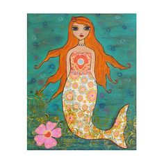 Mermaid Art Print, Large Poster Print 16 x 20 Inches, Nursery Art Print, Mermaid Nursery Decor via Etsy