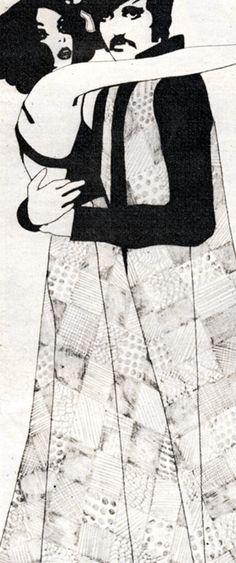 Patchwork fashion illustration forPetticoatmagazine, June 1969. Artist unnkown.