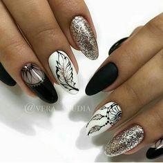 Dream-catcher and feather nail art #nailart