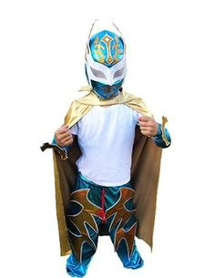SIN CARA Complete Lucha Libre Children's Youth Halloween Costume - Blue