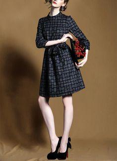 spring new women Slim commuter simple waist plaid collar dress