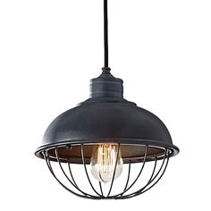 Rounded Iron Cage Bowl Pendant | Industrial Cage Ceiling Light
