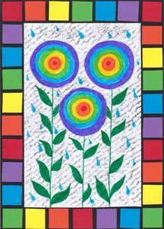 Jarní déšť a duhové květiny