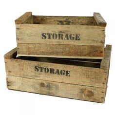 Holzkisten, 2-er Set, groß, Storage Aufdruck, Obstkiste, Vintage Design
