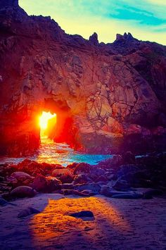 Sunset at Tunnel Pfeiffer Beach, California.