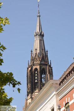 Tower of the New Church in Delft in The Netherlands.  Toren van de Nieuwe Kerk in Delft.