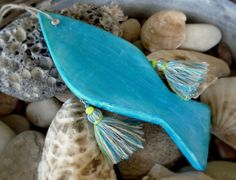 Turquoise lime fish ornament bohemian home by AntigoniCreations
