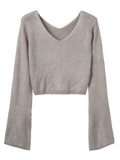 Buy Pink V-neck Long Sleeve Cropped Knit Jumper from abaday.com, FREE shipping Worldwide - Fashion Clothing, Latest Street Fashion At Abaday.com