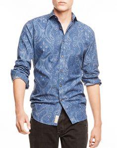 Camisa azul con motivos henna para hombres