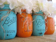 Mason Jars, Ball jars, Painted Mason Jars, Flower Vases, Rustic Wedding Centerpieces, Orange and Turquoise Mason Jars