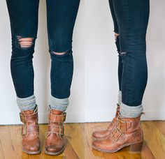 How to: bunched socks with booties. Just choose a longer pair of socks so you can pull them over your skinny jeans and then bunch them down. Try wearing gray socks with your black or blue jeans, or pair black socks with your black jeans for a sleeker look.