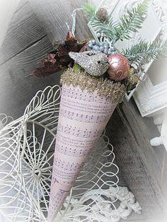 pretty pink winter tussie mussie cone