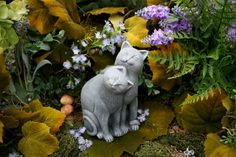 "This cat statue is hand made from my secret recipe using the finest concrete available   ❤ It measures 6.5"" Tall x 4.5"" Deep x 4"" Across & weighs over 3 pounds of solid concrete (before packing) Cat Statue Outdoor Garden Decor Concrete Cat от PhenomeGNOME"