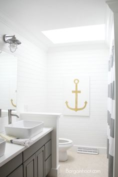DIY bathroom money saving updates Gray and gold colors