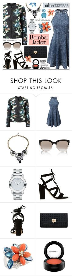 """""""Floral Bomber Jacket & Denim Halter Dress-Yoins 26"""" by anyasdesigns ❤ liked on Polyvore featuring Christian Dior, Movado, Dune, MAC Cosmetics and Marc Jacobs"""