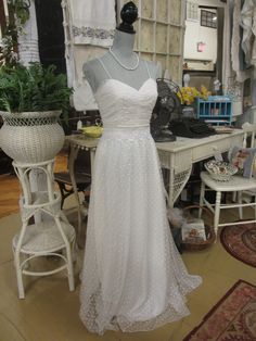 Vintage swiss dot lace full length dress with ruched bodice, delicate spaghetti straps and a back zipper closure...found at La Belle Brocante   https://www.facebook.com/media/set/?set=a.191987514285600.1073741857.133827623434923=3   #prom #vintage #lace #dress
