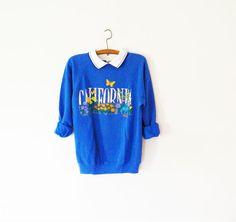 Vintage Royal Blue Oversized Sweatshirt / Slouchy 80s California Sweatshirt with Cute Collar / 80s Novelty Sweatshirt