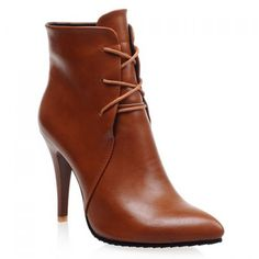 Wholesale Stylish Solid Color and Pointed Toe Design Women's High Heel Boots Only $13.12 Drop Shipping | TrendsGal.com