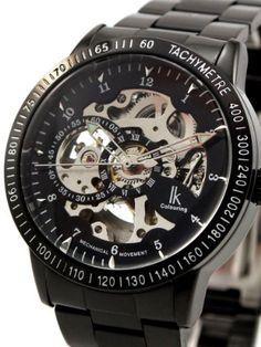 e236f753a29 Alienwork IK Automatikuhr Automatik Armbanduhr Skelett mechanische Uhr  Edelstahl schwarz schwarz 98226G-A