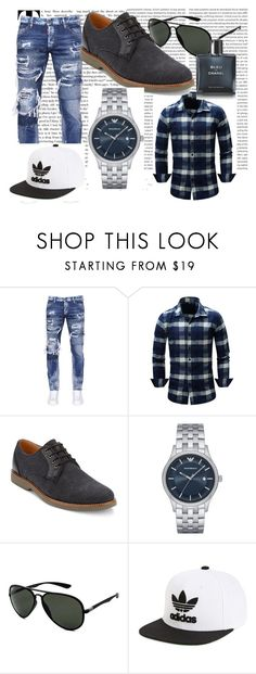 """""""Teenagers"""" by monica41-488 ❤ liked on Polyvore featuring Dsquared2, G.H. Bass & Co., Emporio Armani, Ray-Ban, adidas, Chanel, men's fashion and menswear"""