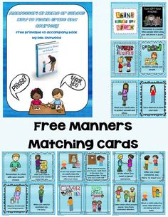 Free Printable Manners Matching Cards for matching and concentration games - a free printable to accompany Montessori at Home or School: How to Teach Grace and Courtesy (2 versions of cards available - blue version and save-my-ink version with colored images on a white background)