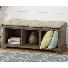 Jofran 940-14 Slater Mill Pine Wood Storage Bench with Upholstered Cushion