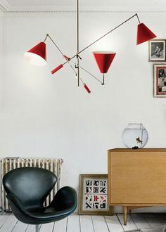 sinatra suspension tri mid century modern delightfull. vintage floor lamps, mid-century modern lighting, unique lamps, stilnovo lamps, dining table Lamps, vintage desk lamps, brass sconces