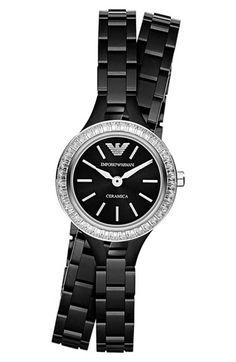Emporio Armani Crystal Bezel Ceramic Wrap Watch Bracelet