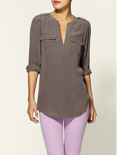 Silk taupe shirt and lavender pants... Perfect spring look!