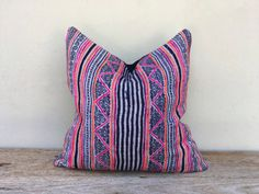 "Retro Ethnic Hemp Homespun Hemp Block Print Hand Woven Pillow Case 18"" x 18"" Hmong pillow case, Beach pillow case, kilim pillow case"