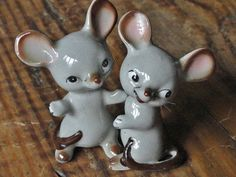 Vintage Salt and Pepper Shakers Gray Mice