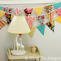 Mini pennant fabric banner  bunting in pink by oliverbludesigns, $24.00  Easy to make!