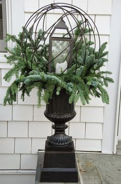 """Exceptional """"counter height table round"""" detail is offered on our site. Check it out and you wont be sorry you did Christmas Urns, Christmas Planters, Outdoor Christmas Decorations, All Things Christmas, Winter Christmas, Christmas Wreaths, Christmas Crafts, Winter Porch, Elegant Christmas"""
