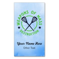 Easy to customize! Double sided printing, $23.95 for a pack of 100. To see more of my sports business card designs, please visit: http://www.zazzle.com/gamefacegear*/ and click on the 'Customizable Business Cards' category. #BusinessCards. Customizable #Lacrosse Weapons Business Cards