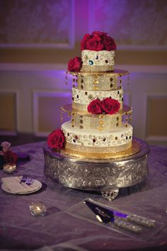 indian wedding cake decor floral http://maharaniweddings.com/gallery/photo/6875