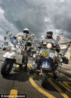 Commemorating fifty years since the 1964 bank holiday riots, mods arriving in Brighton for...
