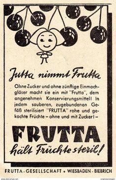 Werbung - Original-Werbung/ Anzeige 1947 - JUTTA NIMMT FRUTTA / WIESBADEN - BIEBRICH - ca. 60 x 100 mm