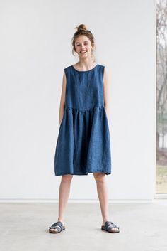 Leinenkleid. Jeans/Marine Farbe lose von notPERFECTLINEN auf Etsy