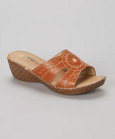 Natural Tan Sunspot Wedge Sandal by Natural #zulily #zulilyfinds